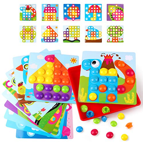 Educational Peg - Korano Button Art Toys for Toddlers, Color Matching Mosaic Pegboard Early Learning Educational 3D Puzzles for Boys and Girls