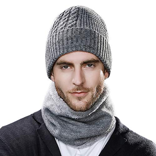 Jeff & Aimy Unisex Warm Fleece Lined Knitted Beanie Hat and Circle Scarf Winter Ski hat Outdoor Hat Sets for Men Women Hunting Grey