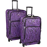 U.S. Traveler Fashion Zebra 2 Piece Spinner Set (Purple Zebra), Bags Central