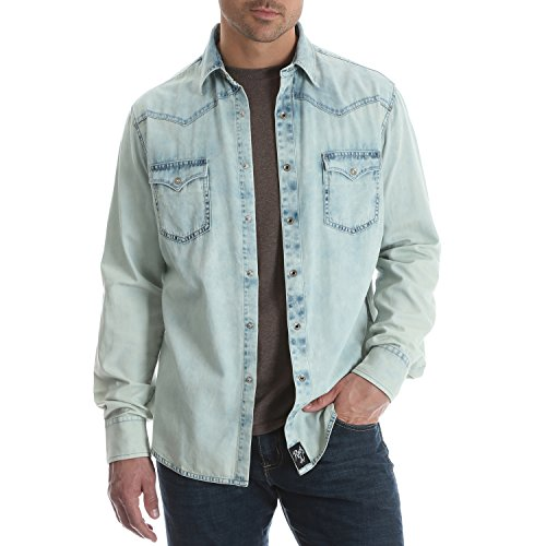 Wrangler Men's Size Big & Tall Rock 47 Two Pocket Long Sleeve Snap Shirt, Bleached Denim, 2XT