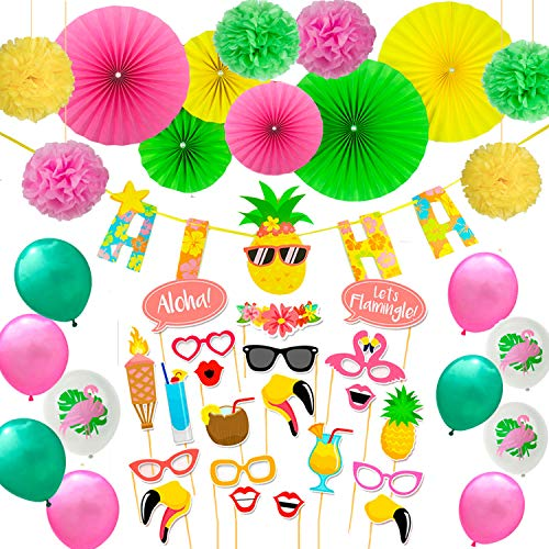 Nouvelife Hawaiian Party Decoration 49 Pieces Including Pineapple ALOHA Garland, Paper Fans and Paper Poms, Balloons and Photo Props for Hawaiian Luau Party Beach Supplies