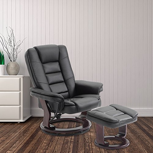 Cloud Mountain PU Leather Recliner Chair and Ottoman Swivel Lounge Leisure Living Room Furniture Set, Black Black Leisure Recliner Chair