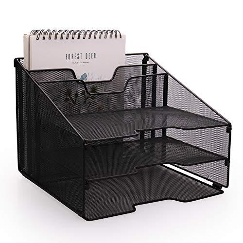 HQD Vertical Desktop Organizer, Mesh Desk Organizer with 2 Compartment Organizer Shelf and 3 Desktop Document Letter Tray File Organizer Desktop for Mail Sorter, Magazine Rack, Paper File Holder