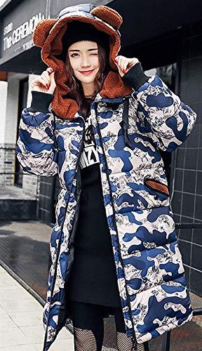 Cappuccio Blau Stile Giubotto Lunga Mantello Coulisse Donna Dolce Piumini Stampate Giaccone Hot Cerniera Invernali Con Moda Giovane Tasche Manica Elegante Women Pattern Imbottita Anteriori UgnPaX
