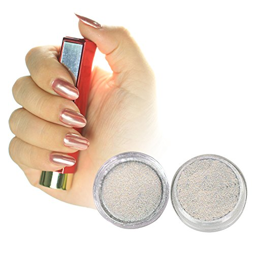 PrettyDiva Silver Chrome Pure Powder Mirror Effect Nail Powd