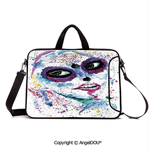 AngelDOU Waterproof Laptop Sleeve Bag Neoprene Carrying Case with Handle & Strap Grunge Halloween Lady with Sugar Skull Make Up Creepy Dead Face Gothic Woman Art for Women &Men Work -
