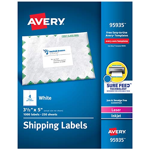 Avery Shipping Address Labels, Laser & Inkjet Printers, 1,000 Labels, 3-1/2 x 5, Permanent Adhesive (95935)