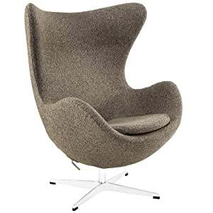 Modway Glove Wool Lounge Chair in Oatmeal