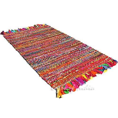 Eyes of India - 3 X 5 ft Colorful Woven Chindi Rag Rug Indian Bohemian Boho Decorative by Eyes of India (Image #1)