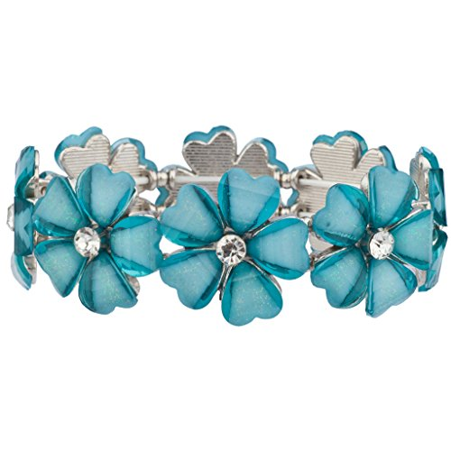 Crystal Stretch Bracelet Watch - Lux Accessories Crystal Floral Flower Synthetic Turquoise Statement Stretch Bracelet
