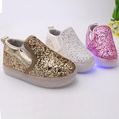 Brillante Hibote Paillette Muchachas Zapatos Los Luz Holgazanes Niño Princesa De Del La Oro faTqf8