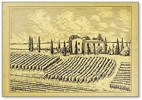 Paisaje dibujado a mano. Imán para nevera con ilustración de casa antigua, jardín, viñedo: Amazon.es: Hogar