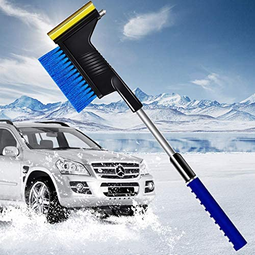 gerFogoo Cepillo de nieve cepillo de nieve para coche raspador de hielo para parabrisas pala 2 en 1 azul pala para quitar nieve para parabrisas y ventana de coche