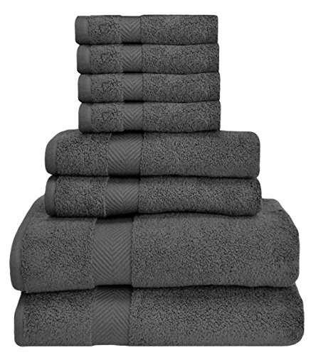 HomeLabels Premium 8 Piece Towel Set (Grey); 2 Bath Towels, 2 Hand Towels and 4 Washcloths – Cotton – Hotel Quality, Super Soft and Highly Absorbent