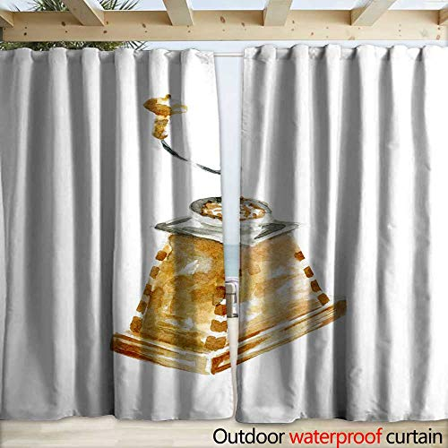 warmfamily Home Patio Outdoor Curtain Coffee Grinder Illustration Hand Drawn Watercolor on White Background Drapery W120 x L84