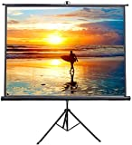 VIVO 100'' Portable Indoor Outdoor Projector Screen, 100 Inch Diagonal Projection HD 4:3 Projection Pull Up Foldable Stand Tripod (PS-T-100)