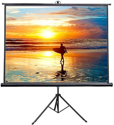 VIVO 100″ Portable Indoor Outdoor Projector Screen, 100 Inch Diagonal Projection HD 4:3 Projection Pull Up Foldable Stand Tripod (PS-T-100)