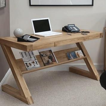 Z Oak Designer Office Desk Amazoncouk Kitchen Home