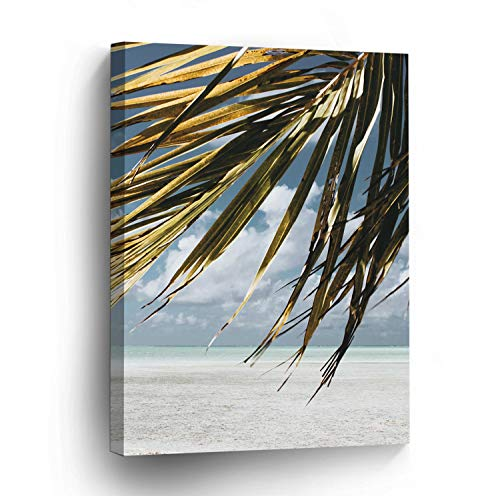 wonbye Modern Canvas Painting Wall Art Picture For Home Decoration | Coconut Palm Trees Leaves Tropical Beach Print On Canvas Giclee Stretched Framed Artwork For Wall Decor 12 x 15 ()