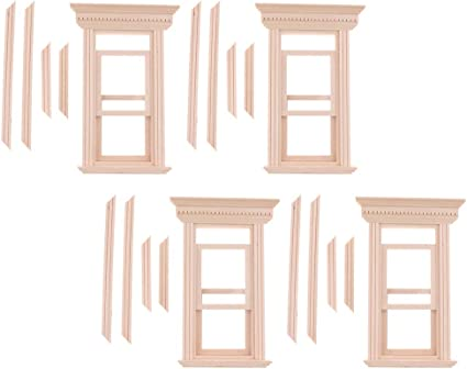 1//12 Dollhouse Miniature Unpainted Wooden 2-Pane Sash Window Frame 4 Set