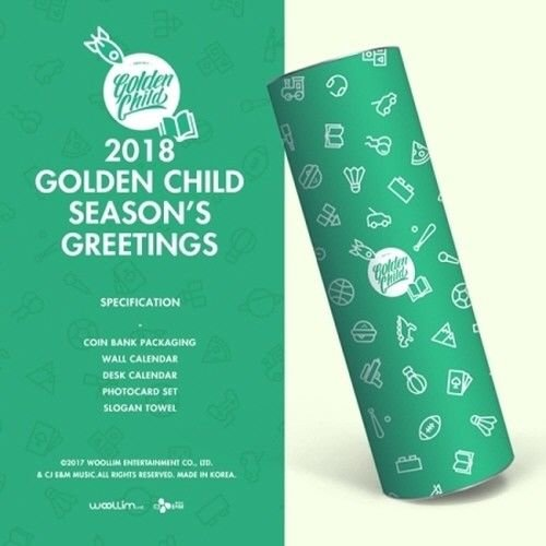 Golden Child 2018 Season's Greetings-Coin Bank+Calendar+Photo Card+Slogan Towel