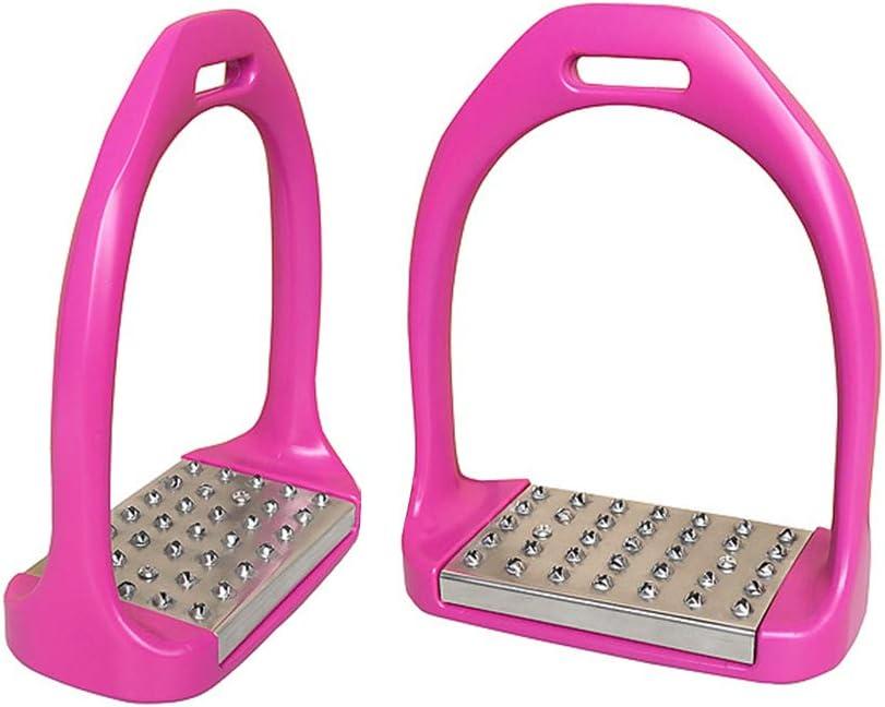 GZQ Estribos de Caballo para Silla de Montar, 2 Piezas de Estribo de Aluminio 3D, Seguridad Ligera (Rosado)