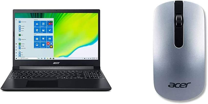 """Acer Aspire 7 Laptop, 15.6"""" Full HD IPS Display, AMD Ryzen 5 3550H, NVIDIA GeForce GTX 1650, 8GB DDR4, 512GB NVMe SSD, Windows 10 Home, A715-41G-R7X4 with Slim Wireless Optical Mouse - Silver"""