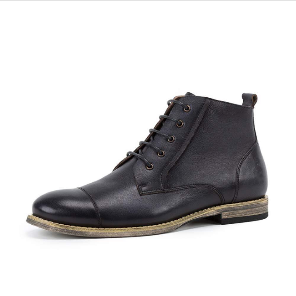 YCGCM Herbst Männer Lederschuhe England Schuhe Hohe Hilfe Martin Stiefel Lässig Spitze schwarz