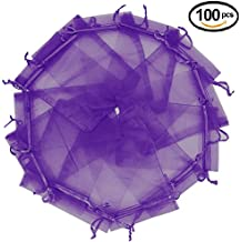 """Wuligirl 100pcs Sheer Organza Bags 5''x7'' Purple Drawstring Packages License Jewelry Lipstick Pouches Baby Shower Party Wedding Favors Cookies Candy Christmas Gift Bags(100pcs Purple 5X7"""")"""