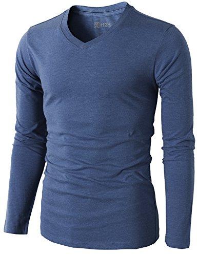 H2H Basic T Shirts V Neck Sleeve