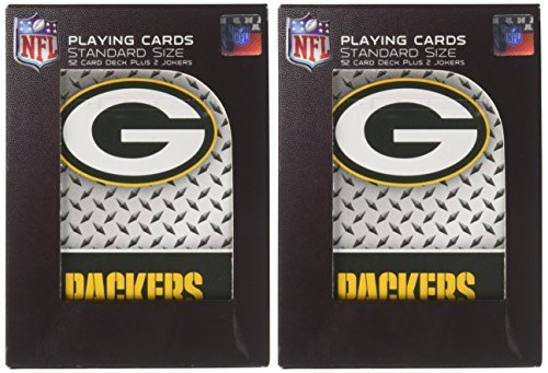 Pro Specialties Group NFL Green Bay Packers Diamond Plate Playing Cards, 2-Pack