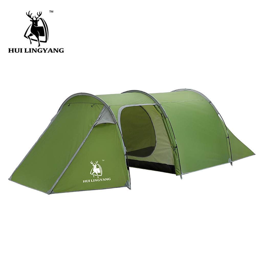 HuiLingYang Ultralight Automatic Instant Portable Camping tent - Suitable for Upto 4 People - Double Layer Water Resistant & UV Protection Tunnel Tent - with Carrying Bag (Green)