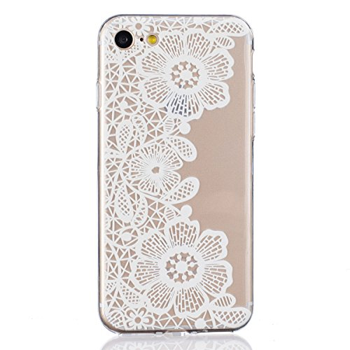 iPhone 7 Case, Greendimension Fun Fashion White Refined Printed Pattern Designs Hard Clear Protective Case Cover For iPhone 7 4.7 Inch (Mosaic (Hand Painted Floral Plug)
