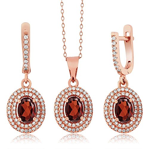 4.33 Ct Natural Red Garnet 925 Rose Gold Plated Silver Pendant Earrings Set With 18 Inch Chain