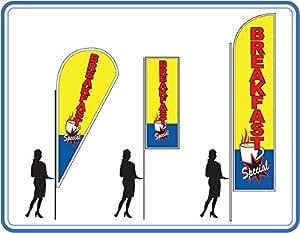 Pro Kit de bandera desayuno especial con base sin, Pro 100 Teardrop (170cm/5.6ft) (220cm/7.2ft)