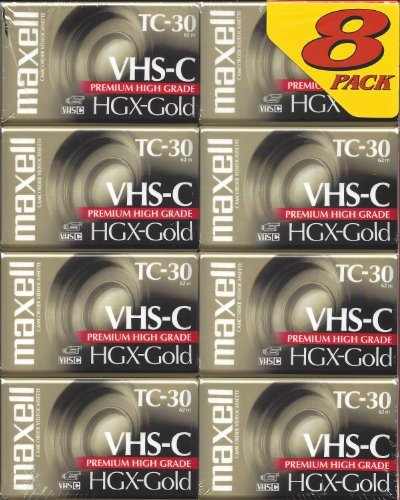 Maxell TC-30 VHS-C Camcorder HGX-Gold Premium High Grade 8-Pack by Maxwell