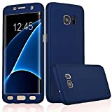 BRAND FUSON iPaky Premium Full 360 Degree Protection Front & Back Slim Fit Case Cover With Screen Protector Tempered Glass For Samsung Galaxy J1 4G BLUE