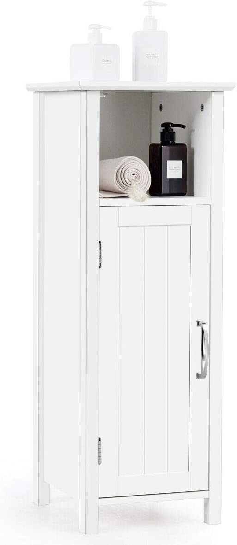 Tangkula Bathroom Storage Cabinet, Multifunctional Storage Cabinet with Single Door Height Adjustable Shelf, White Finish Bathroom Storage Organizer Toiletries
