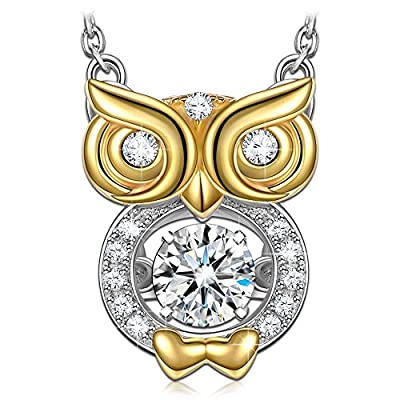 Dancing Heart Bird of Wisdom 925 Sterling Silver Owl Animal Necklace- A love story that never ends