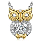 """DANCING HEART 925 Sterling Silver """"Bird of Wisdom"""" Graduation Gifts Dancing Stone Necklace, 5A CZ Animal Necklace Fine Jewelry with Luxury Gift Box - The diamond keeps moving as if it is dancing!"""