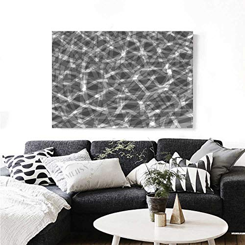 Post Arrow Bent (Warm Family Grey Art-Canvas Prints Trippy Grunge Haze Digital Display with Fractal Pieces Parts Lines Contemporary Bents Art Modern Wall Art for Living Room Decoration 32