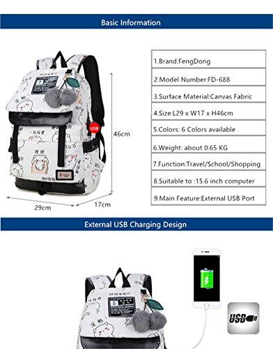 Girls Printing Bookbag Women Teenage C3 for Bag Canvas C1 Characters Backpack School Bags Ball Plush Cute Chinese Backpacks 8EwgFq1