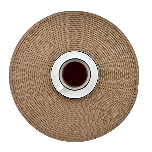 Ecoshome Round Placemats Braided Edge Table Mats for Dining Table Kitchen Table (6, Khaki)