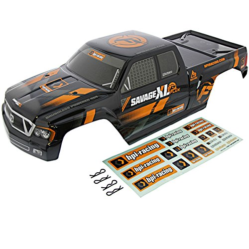 HPI 1/8 Savage XL Flux GT-5 Gigante Black Body, Decals & Clips Shell Cover