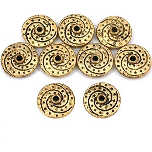 15g Fluted Saucer Bead Antq Gold Plated 14.5mm Approx 8 ()