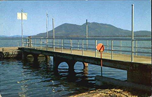 City Pier, Library park Lakeport, California Original Vintage Postcard