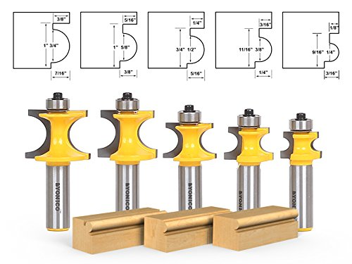 Yonico 13516 5 Bit Bullnose Router Bit Set C3 Carbide Tipped 1/2