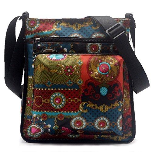 STUOYE Mutil-Pocket Nylon Crossbody Purse Bag with Adjustable Zipper Sapphire