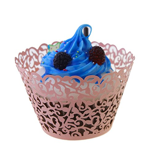UNIQLED Filigree Artistic Bake Cake Paper Cups Little Vine Lace Laser Cut Liner Cupcake Wrappers Baking Cup Muffin Holder Case for Wedding Birthday Party Decoration (60, -