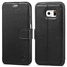 Galaxy S6 Edge Case, SHIELDON [Slim Fit] Genuine Leather Wallet Case, Flip Book Case with [Lifetime Warranty] Kickstand, Cards Slots, Magnetic Clasp for Samsung Galaxy S6 Edge, Black